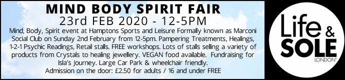 Mind Body Spirit Fair 2nd Feb 2020 £2.50 Entrance Fee to pay